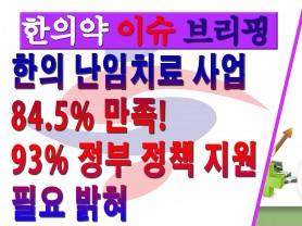 [한의약 이슈 브리핑]한의 난임치료 사업 84.5% 만족! 93% 정부 정책 지원 필요 밝혀