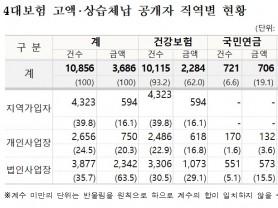 4대 사회보험료 고액·상습체납자 인적사항 공개