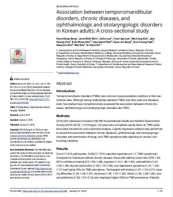턱관절 장애와 만성 질환‧안이비인후과 질환 간 연관성 있어