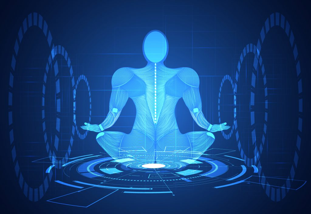 abstract technology science concept human body line blue health digital : medicine,meditation,Healing,Chakra,Zen vitality innovation energy circulates in the body on hi tech future design background