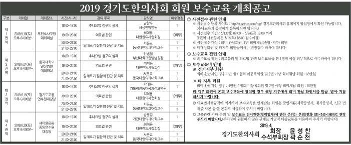 19/5/18~ 경기도한의사회 보수교육(총4회)