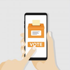 Hand holding smartphone with voting button on the screen. vector
