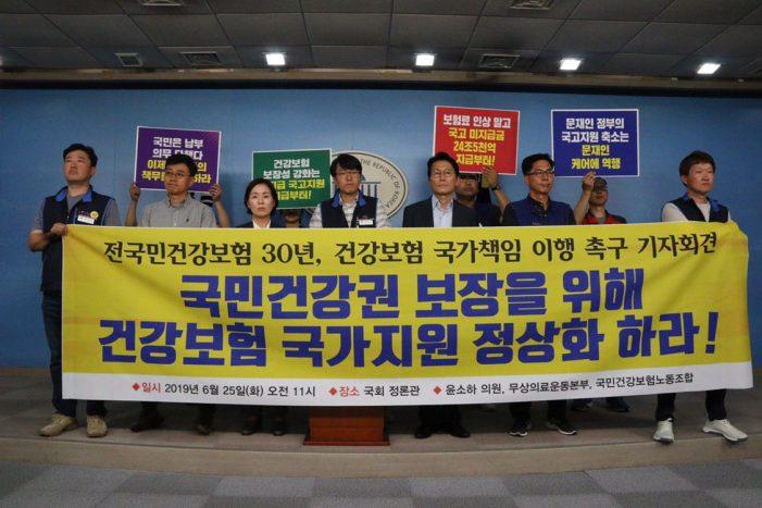 """""""국민건강권 보장 위해 건강보험 국가지원 정상화 하라!"""""""