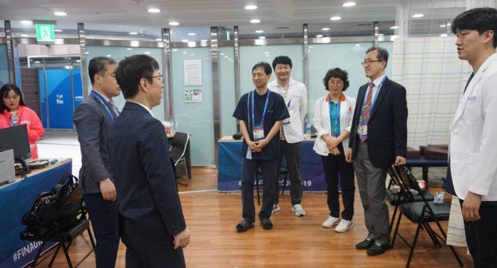 한의협 집행부, 광주 선수촌 한의진료실 방문